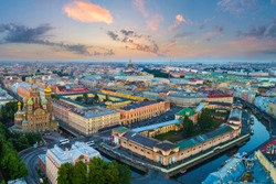 Saint-Petersburg. Russia. The temple of saving blood. Russian church.  Panorama of St. Petersburg from a bird's eye view. Summer sunset Petersburg. Petersburg architecture. Russian city.