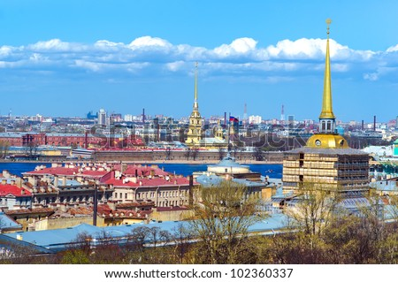 Saint Petersburg, Russia - view to Admiralty and Peter and Paul fortress from St.Isaac cathedral