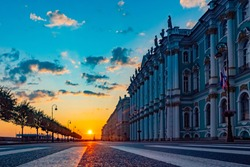 Saint Petersburg. Russia. Winter Palace. Palace Square. Dawn Museums of St. Petersburg. Morning road. Palace Embankment. Sights of St. Petersburg. Excursions to museums in Russia. Travels to Russia