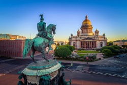 Saint Petersburg. St. Isaac's Square. Russia. Monument to Alexander the first. Saint Isaac's Cathedral. Summer in St. Petersburg. City of Russia.