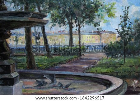 Saint-Petersburg street architecture and the fountain in summer, oil painting
