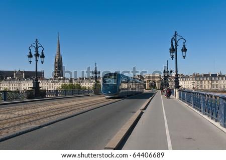 Saint Pierre bridge crossing Garonne river at Bordeaux, France - stock photo