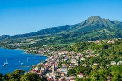 Saint Pierre Caribbean bay in Martinique beside Mount Pelée volcano