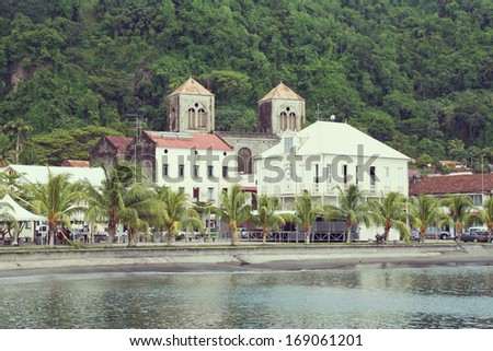 Saint Pierre village is located on Martinique island. Martinique island is located near guadeloupe island.