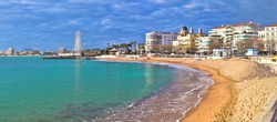 Saint Raphael beach and waterfront panoramic view, famous tourist destination of French riviera, Alpes Maritimes region of France