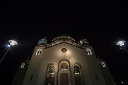 Saint Sava Cathedral Temple (Hram Svetog Save) in the evening seen fron the outside. This orthodox church is one of the main monuments of the capital city of Serbia,  Belgrade.
