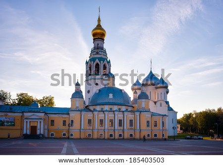 Saint Sophia orthodox cathedral and church of Resurrection of Jesus, Vologda Kremlin, Russia