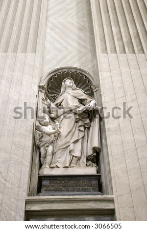 Saint Teresa statue inside St. Peter's Basilica in Rome, Italy.