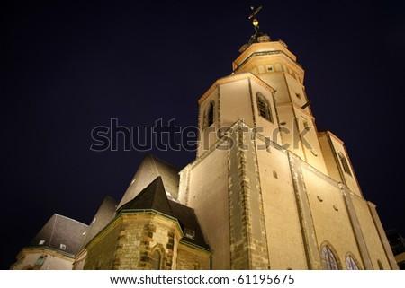 Saint Thomas church night view in Leipzig, Germany