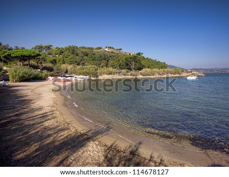 Saint Tropez beach in morning french riviera, mediterranean sea