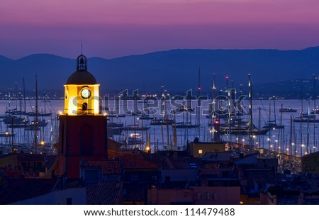 Saint Tropez beach resort, France night scene