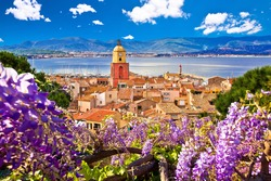 Saint Tropez village church tower and old rooftops view, famous tourist destination on Cote d Azur, Alpes-Maritimes department in southern France