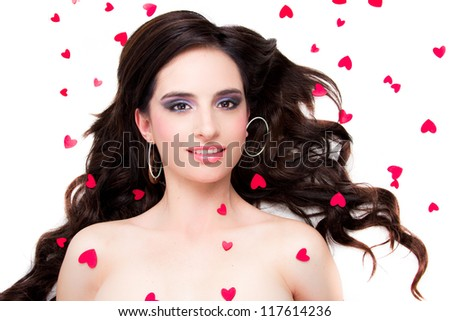 Saint Valentine day woman with hearts