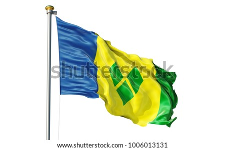 Saint Vincent and the Grenadines flag. Isolated 3d Saint Vincent and the Grenadines flag