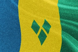 Saint Vincent and the Grenadines glitter flag, national flag, glittering flag sparkle background
