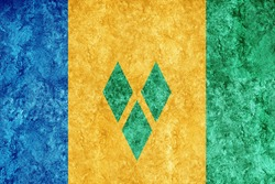 Saint Vincent and the Grenadines Metallic flag, Textured flag, grunge flag