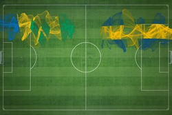 Saint Vincent and the Grenadines vs Sweden Soccer Match, national colors, national flags, soccer field, football game, Competition concept, Copy space