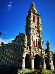 Sainte-Anne church, Saint-Benoît, Reunion island, France. This baroque church is decorated with moldings, statues and gargoyles in cement.