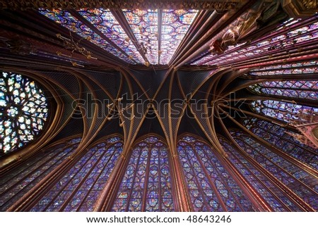Sainte Chapelle church, Paris - Upper Chapel's ceiling