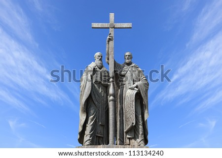 Saints Cyril and Methodius monument in Moscow (Russia)
