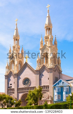 Saints Peter and Paul Church in San Francisco, CA, in the Italian-American neighborhood of North Beach. The original church dating back to 1884, was rebuilt after the 1906 earthquake and fire.