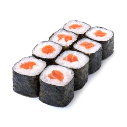 Sake maki Japanese roll with salmon isolated on white background with shadow
