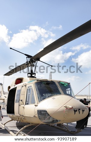SAKHIR AIRBASE, BAHRAIN - JANUARY 21: Static display of Bell 212 Helicopter in Bahrain International Airshow at Sakhir Airbase, Bahrain on 21 January, 2012