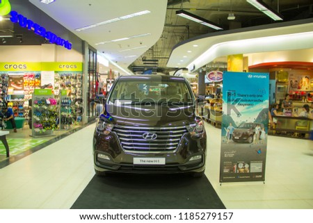 Sakon Nakhon,Thailand,September 21,2018:Hyundai H-1 Deluxe,Hyundai Motor,The most popular car imported from Korea in Thailand. With the standard of production and excellent protection system,Thailand. #1185279157