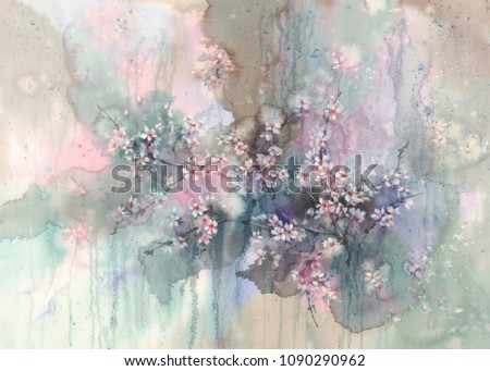 Sakura branches after the rain watercolor background. Spring rain.