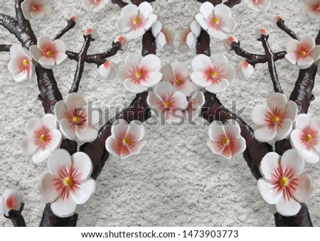 sakura branches. white sakura. Sakura on a stucco background. 3d effect