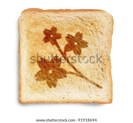 sakura flower, cherry blossom, picture on toast bread, isolated on white background