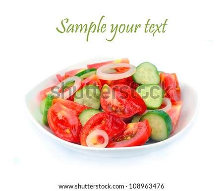 Salad. A vegetable mix from a tomato and cucumbers