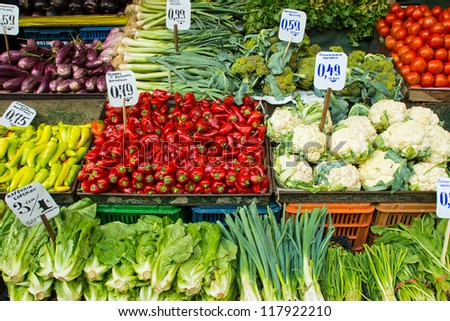 Salad and vegetables on a market