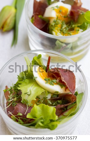 salad cocktail with eggs, basil and ham Stockfoto ©