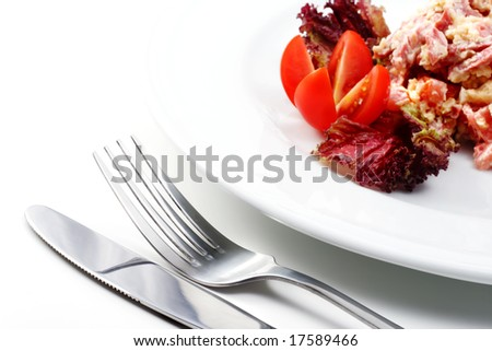 Salad Comprises Smoked Foods, Tomato and Cheese Dressed with Red Salad Leaves and Tomato. Isolated on White Background