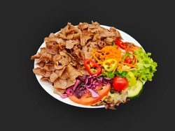Salad Doner Plate, Döner Teller mit Salat - piatto con kebap