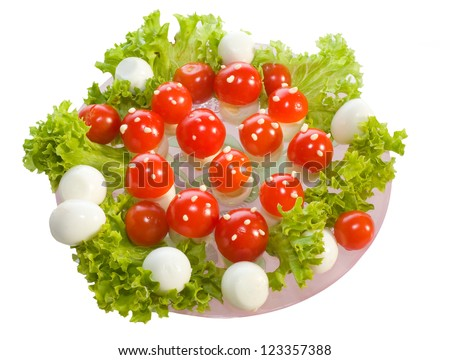 """Salad """"Fly agarics"""".Breakfast for child made from boiled egg ,tomato and mayonnaise"""