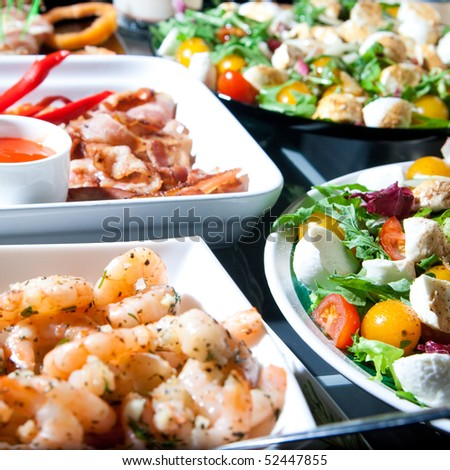 salad, fried bacon and shrimp for snack