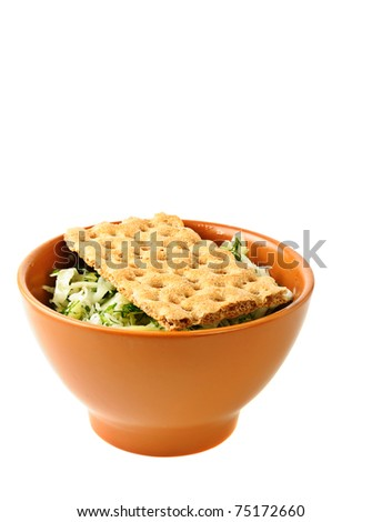 Salad from fresh vegetables with diet bread
