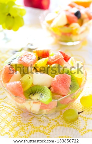 Salad from grape, apple and citrus