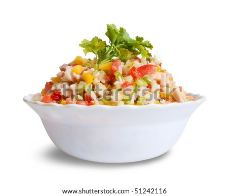 Salad from vegetables. Isolated on white with clipping path