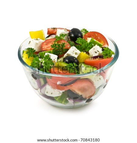 salad in bowl isolated on white