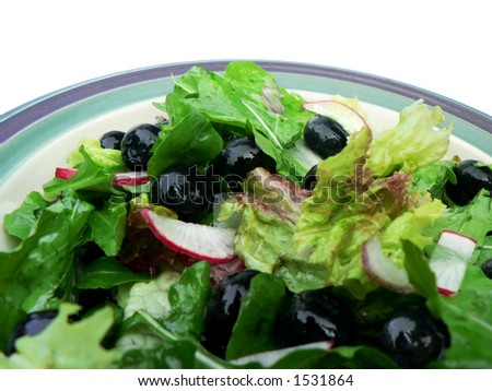 Salad in ceramic bowl.