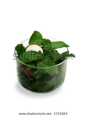 Salad in glass bowl.