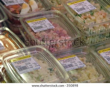 salad in the shop's fridge