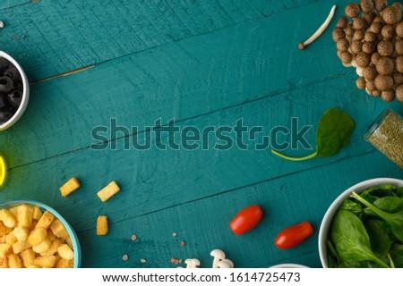 Salad ingredients, fresh and healthy nutrition. Vegetarian food. Top view. Menu, recipe book.