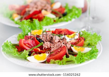 Salad Nicoise is made with canned tuna, anchovies, hard boiled eggs, tomatoes, olives, onions, lettuce, and green beans, French cuisine - stock photo