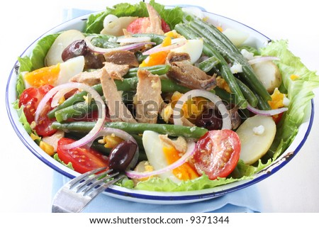 Salad nicoise. Tuna, with green beans, grape tomatoes, eggs, chat ...