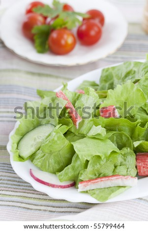 Salad of craw fish and lettuce