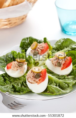 salad plate of lettuce egg tuna and olive